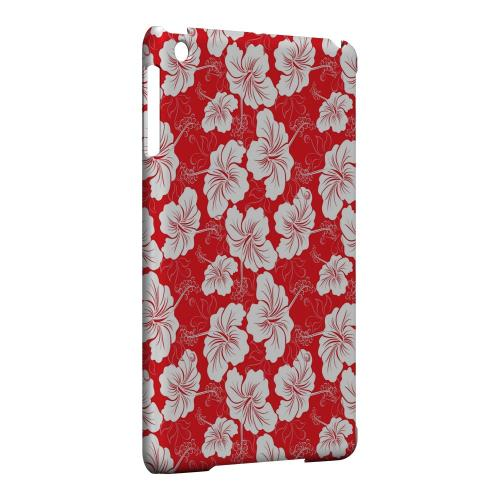 Geeks Designer Line (GDL) Slim Hard Case for Apple iPad Mini - White Hibiscus on Red