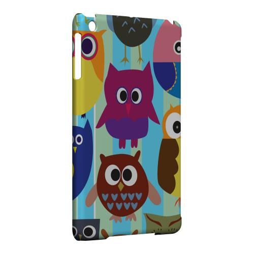 Geeks Designer Line (GDL) Slim Hard Case for Apple iPad Mini - Colorful Owls on Blue/Green Stripes