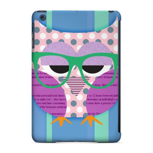 Geeks Designer Line (GDL) Slim Hard Case for Apple iPad Mini - Hipster Owl on Blue/Green Stripes