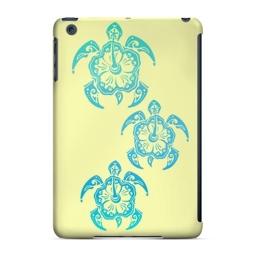 Geeks Designer Line (GDL) Slim Hard Case for Apple iPad Mini - Blue Island Turtle Trail on yellow
