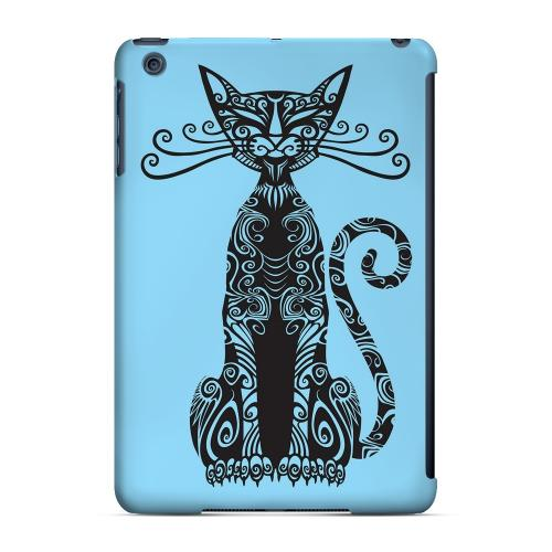 Geeks Designer Line (GDL) Slim Hard Case for Apple iPad Mini - Kitty Nouveau on Light Blue