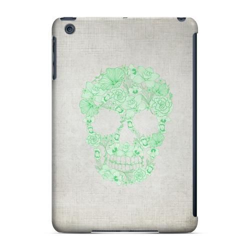 Geeks Designer Line (GDL) Slim Hard Case for Apple iPad Mini - Floral Green Skull on Canvas