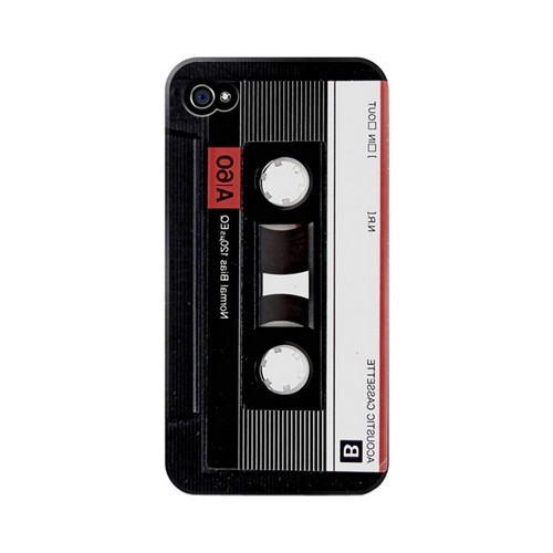 Geeks Designer Line (GDL) Retro Series Apple iPhone 4/4S Matte Hard Back Cover - Black Acoustic Cassette