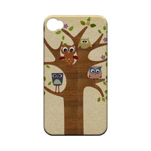 Geeks Designer Line (GDL) Owl Series Apple iPhone 4/4S Matte Hard Back Cover - Owls On Brown Tree