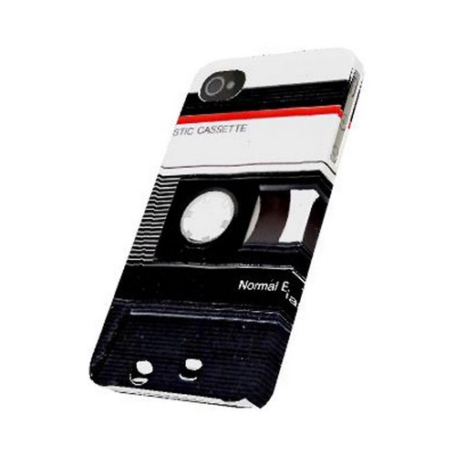 Geeks Designer Line (GDL) Retro Series Apple iPhone 4/4S Matte Hard Back Cover - Black Cassette Close Up