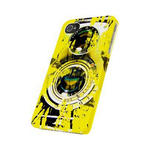 Geeks Designer Line (GDL) Retro Series Apple iPhone 4/4S Matte Hard Back Cover - Chaotic Yellow Camera
