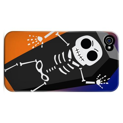 Geeks Designer Line (GDL) Apple iPhone 4/4S Matte Hard Back Cover - Dancing Skeleton on Black/Orange/Purple