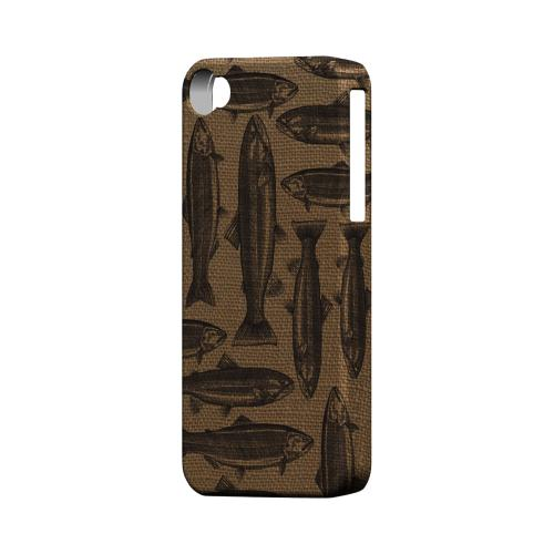 Geeks Designer Line (GDL) Fish Series Apple iPhone 4/4S Matte Hard Back Cover - Vintage Salmon & Trout on Burlap
