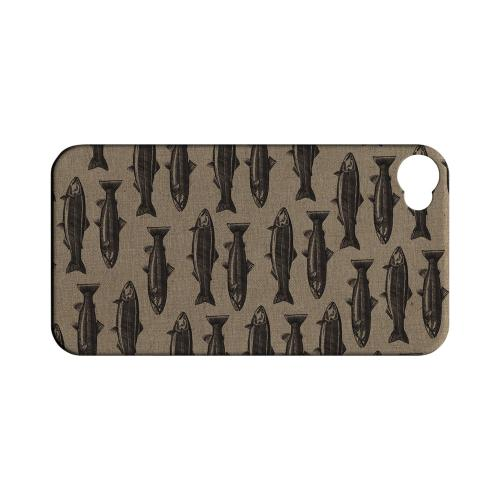 Geeks Designer Line (GDL) Fish Series Apple iPhone 4/4S Matte Hard Back Cover - Vintage Salmon & Trout Print