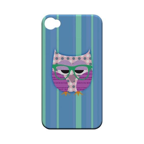 Geeks Designer Line (GDL) Owl Series Apple iPhone 4/4S Matte Hard Back Cover - Hipster Owl on Blue/Green Stripes