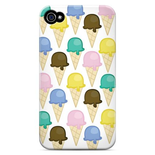 Geeks Designer Line (GDL) Apple iPhone 4/4S Matte Hard Back Cover - Assorted Ice Cream Cones
