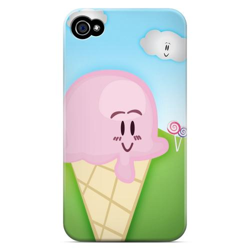 Geeks Designer Line (GDL) Apple iPhone 4/4S Matte Hard Back Cover - Cute Pink Ice Cream Cone