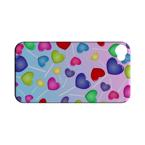 Geeks Designer Line (GDL) Apple iPhone 4/4S Matte Hard Back Cover - Assorted Heart Lollipops