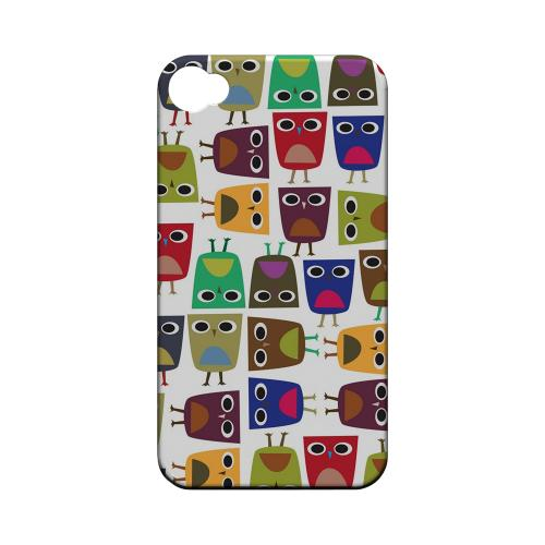 Geeks Designer Line (GDL) Owl Series Apple iPhone 4/4S Matte Hard Back Cover - Quadrilateral Owl Configuration