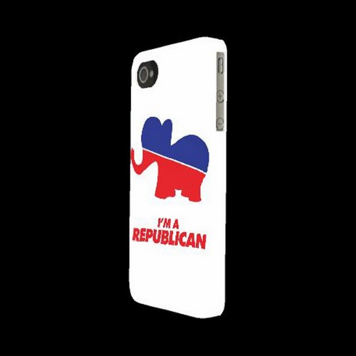 Geeks Designer Line (GDL) 2012 Election Series Apple iPhone 4/4S Matte Hard Back Cover - Red/ Blue Republican Elephant