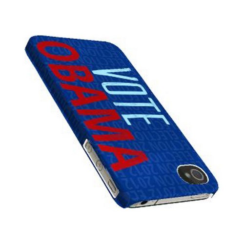 Geeks Designer Line (GDL) 2012 Election Series Apple iPhone 4/4S Matte Hard Back Cover - Red/ Blue Obama