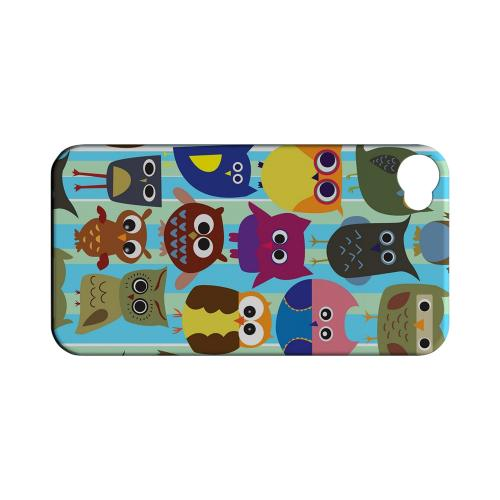 Geeks Designer Line (GDL) Owl Series Apple iPhone 4/4S Matte Hard Back Cover - Colorful Owls on Blue/ Green Stripes