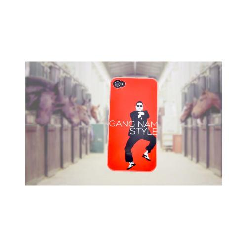 Apple iPhone 4/4S Slim Hard Back Cover - Red Gangnam Style