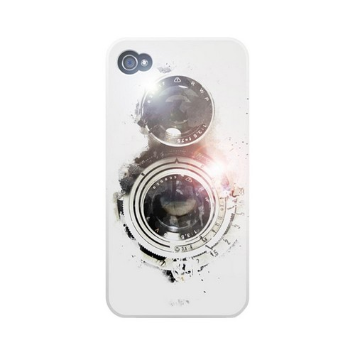 Geeks Designer Line (GDL) Retro Series Apple iPhone 4/4S Matte Hard Back Cover - White Lens Flare
