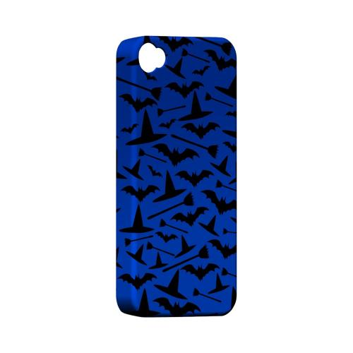 Geeks Designer Line (GDL) Apple iPhone 4/4S Matte Hard Back Cover - Witch Hat/Broom/Bat on Blue