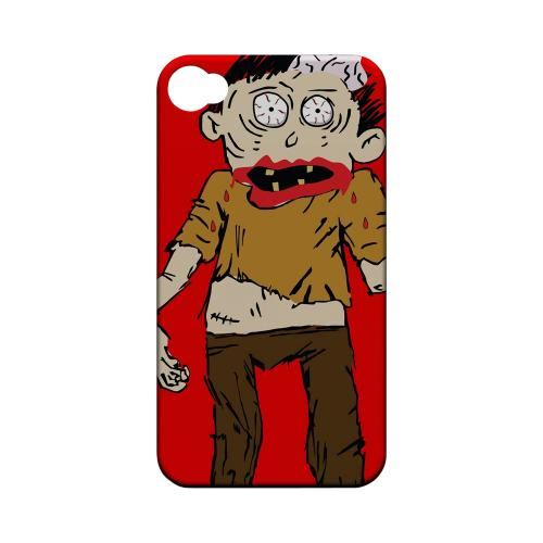 Geeks Designer Line (GDL) Apple iPhone 4/4S Matte Hard Back Cover - Zombie on Red