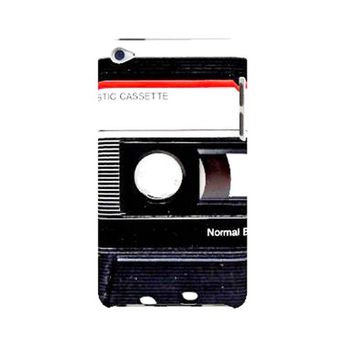 Geeks Designer Line (GDL) Retro Series Apple iPod Touch 4 Slim Hard Back Cover - Black Cassette Close Up