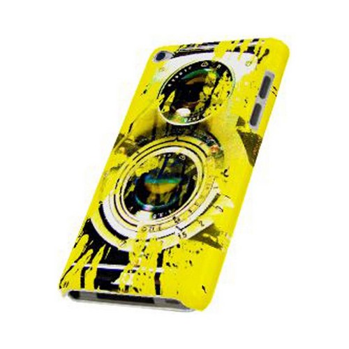 Geeks Designer Line (GDL) Retro Series Apple iPod Touch 4 Slim Hard Back Cover - Chaotic Yellow Camera