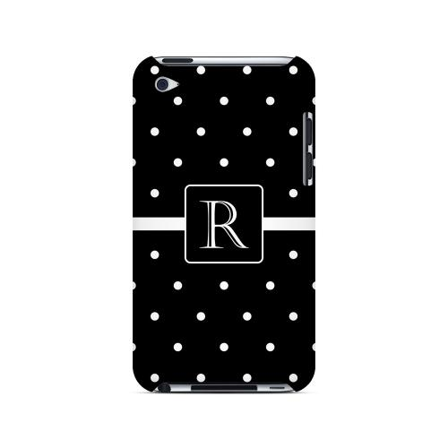 R on Classic Mini Polka Dots - Geeks Designer Line Monogram Series Hard Case for Apple iPod Touch 4