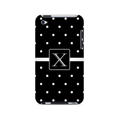 X on Classic Mini Polka Dots - Geeks Designer Line Monogram Series Hard Case for Apple iPod Touch 4
