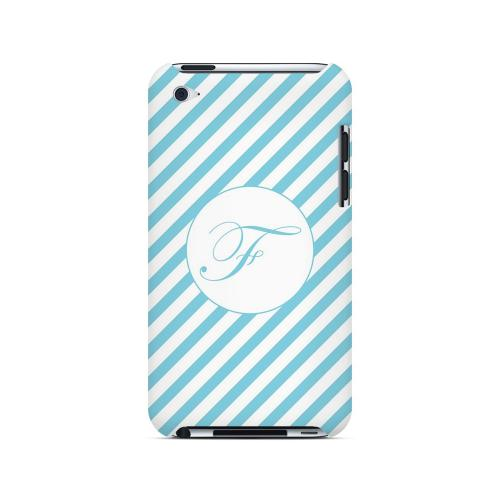Calligraphy F on Mint Slanted Stripes - Geeks Designer Line Monogram Series Hard Case for Apple iPod Touch 4