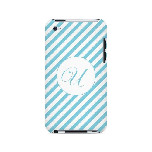 Calligraphy U on Mint Slanted Stripes - Geeks Designer Line Monogram Series Hard Case for Apple iPod Touch 4