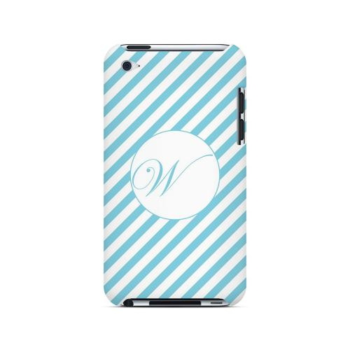 Calligraphy W on Mint Slanted Stripes - Geeks Designer Line Monogram Series Hard Case for Apple iPod Touch 4