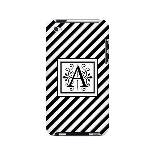 Vintage Vine A On Black Slanted Stripes - Geeks Designer Line Monogram Series Hard Case for Apple iPod Touch 4