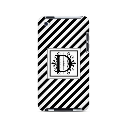 Vintage Vine D On Black Slanted Stripes - Geeks Designer Line Monogram Series Hard Case for Apple iPod Touch 4