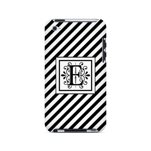 Vintage Vine E On Black Slanted Stripes - Geeks Designer Line Monogram Series Hard Case for Apple iPod Touch 4