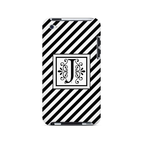 Vintage Vine J On Black Slanted Stripes - Geeks Designer Line Monogram Series Hard Case for Apple iPod Touch 4