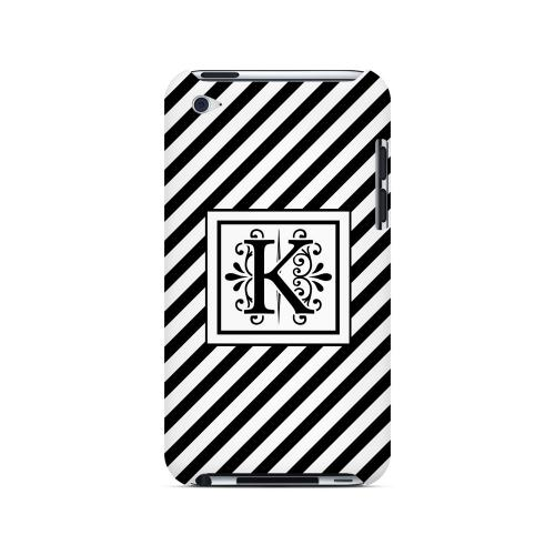 Vintage Vine K On Black Slanted Stripes - Geeks Designer Line Monogram Series Hard Case for Apple iPod Touch 4