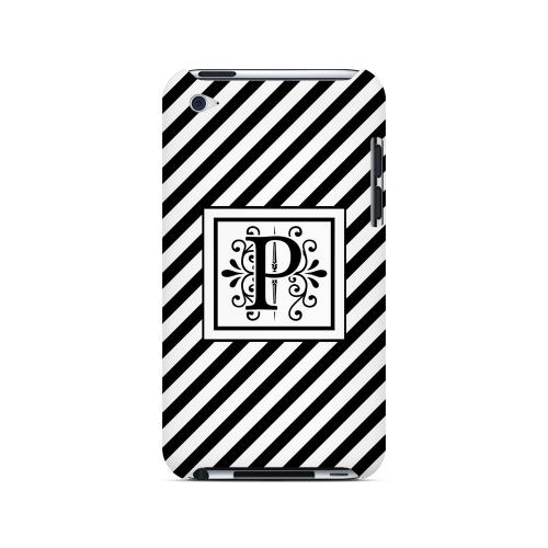 Vintage Vine P On Black Slanted Stripes - Geeks Designer Line Monogram Series Hard Case for Apple iPod Touch 4