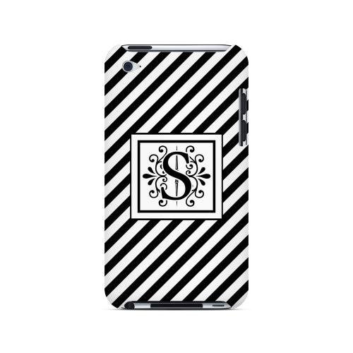 Vintage Vine S On Black Slanted Stripes - Geeks Designer Line Monogram Series Hard Case for Apple iPod Touch 4