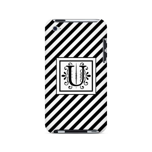 Vintage Vine U On Black Slanted Stripes - Geeks Designer Line Monogram Series Hard Case for Apple iPod Touch 4