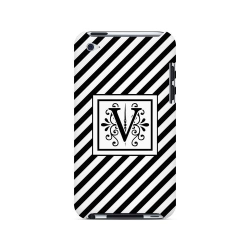 Vintage Vine V On Black Slanted Stripes - Geeks Designer Line Monogram Series Hard Case for Apple iPod Touch 4