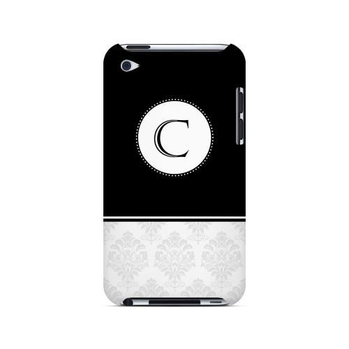 Black C w/ White Damask Design - Geeks Designer Line Monogram Series Hard Case for Apple iPod Touch 4