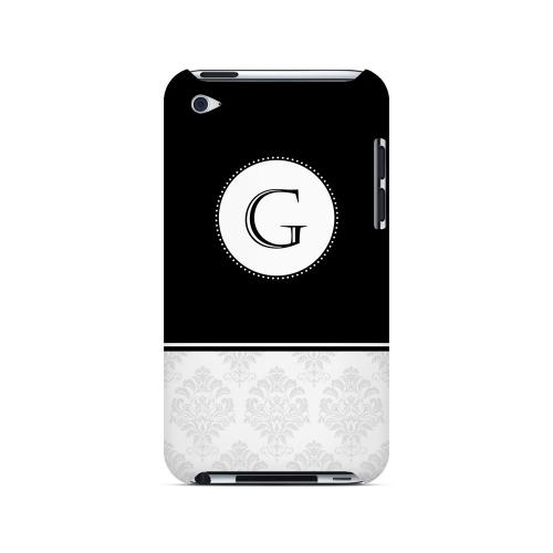 Black G w/ White Damask Design - Geeks Designer Line Monogram Series Hard Case for Apple iPod Touch 4