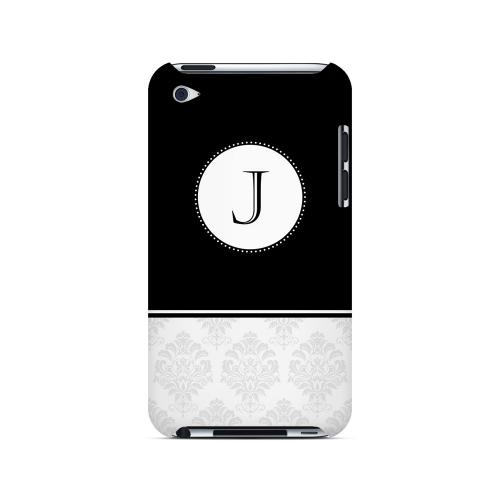 Black J w/ White Damask Design - Geeks Designer Line Monogram Series Hard Case for Apple iPod Touch 4