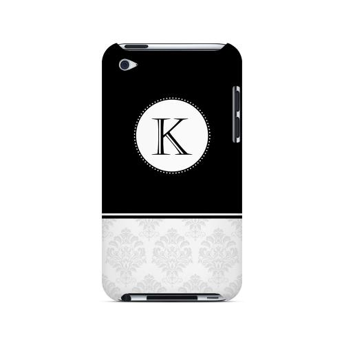 Black K w/ White Damask Design - Geeks Designer Line Monogram Series Hard Case for Apple iPod Touch 4
