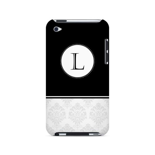 Black L w/ White Damask Design - Geeks Designer Line Monogram Series Hard Case for Apple iPod Touch 4