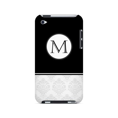 Black M w/ White Damask Design - Geeks Designer Line Monogram Series Hard Case for Apple iPod Touch 4