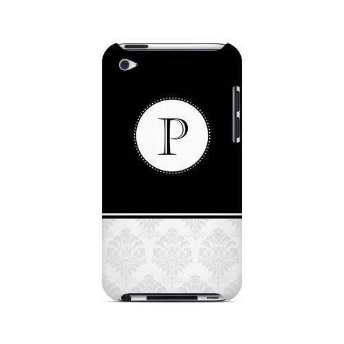 Black P w/ White Damask Design - Geeks Designer Line Monogram Series Hard Case for Apple iPod Touch 4