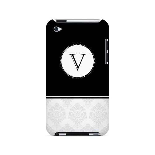 Black V w/ White Damask Design - Geeks Designer Line Monogram Series Hard Case for Apple iPod Touch 4