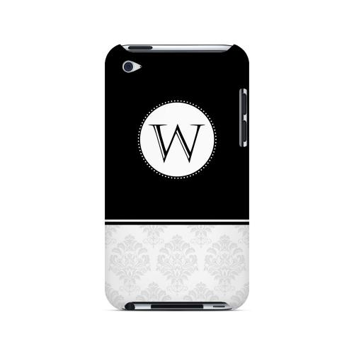 Black W w/ White Damask Design - Geeks Designer Line Monogram Series Hard Case for Apple iPod Touch 4